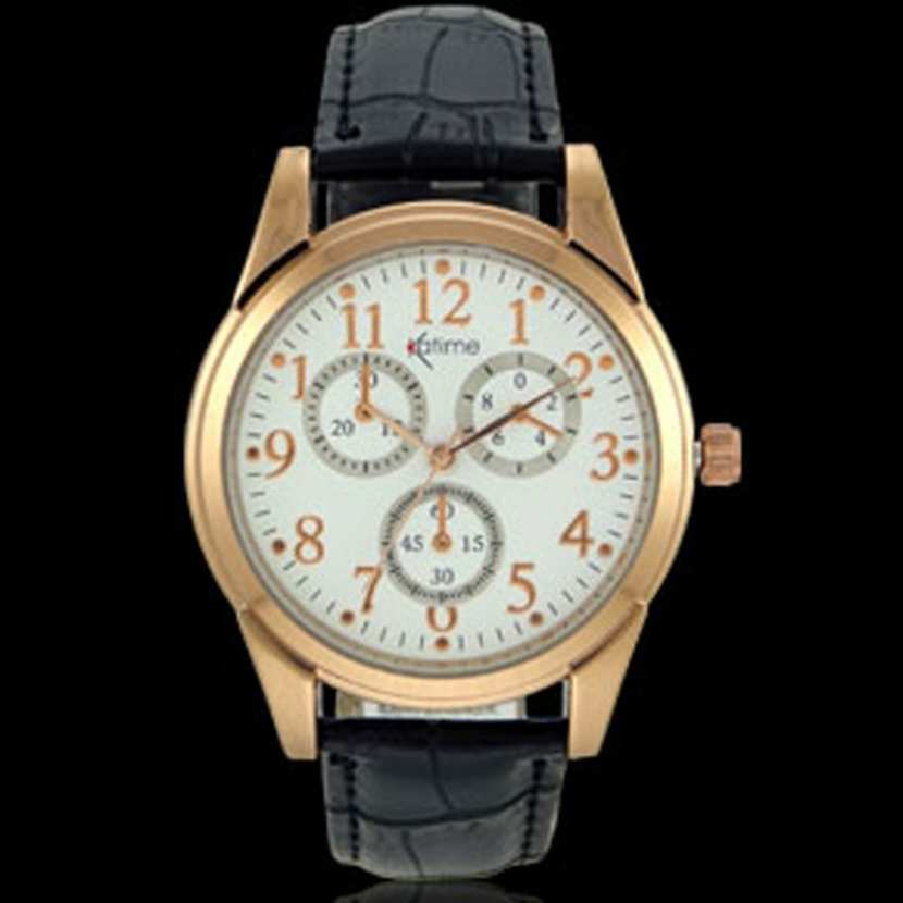 7eb304046dfa8 Belle montre classique pas chère pour homme avec bracelet cuir noir et  boitier métal doré